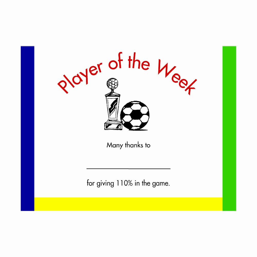 Player Of the Game Certificates Best Of soccer Player Of the Week Award Certificate – Mayda Mart