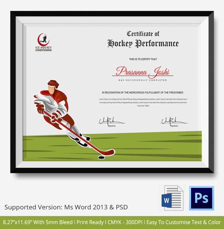Player Of the Game Certificates Elegant 5 Hockey Certificates Psd & Word Designs