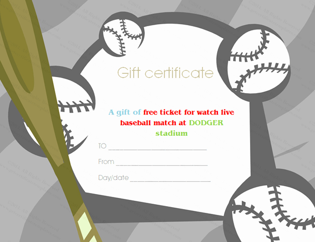 Player Of the Game Certificates Inspirational Baseball Tickets Gift Certificate Template