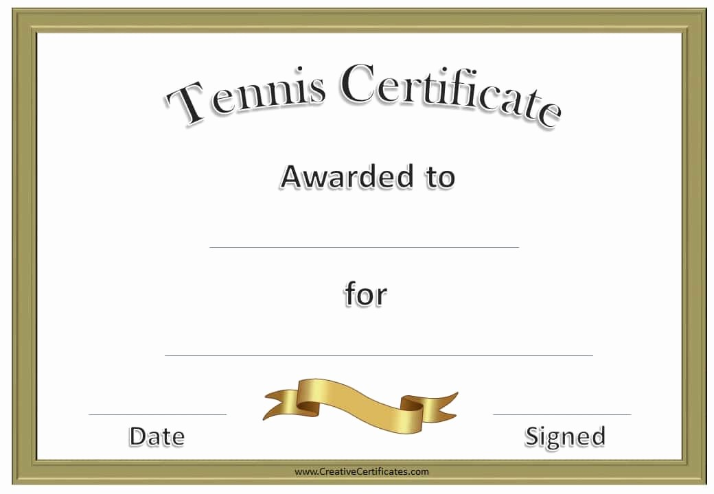 Player Of the Game Certificates Inspirational Free Tennis Certificate Templates