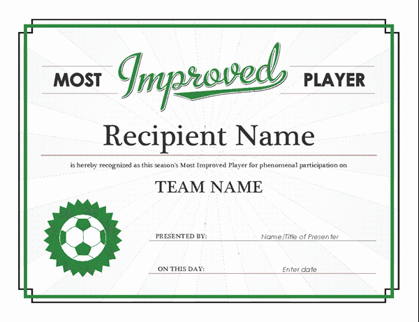 Player Of the Game Certificates Lovely Most Improved Player Award Certificate