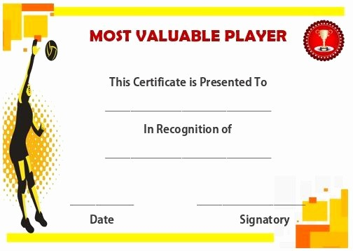 Player Of the Game Certificates Lovely Volleyball Mvp Certificate