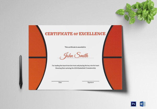 Player Of the Game Certificates Luxury 14 Basketball Certificate Templates Psd
