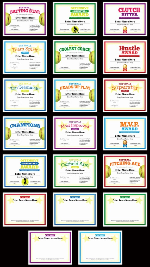 Player Of the Game Certificates Luxury softball Certificates