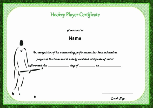 Player Of the Game Certificates New 25 Printable Hockey Certificate Templates for Kids Youth
