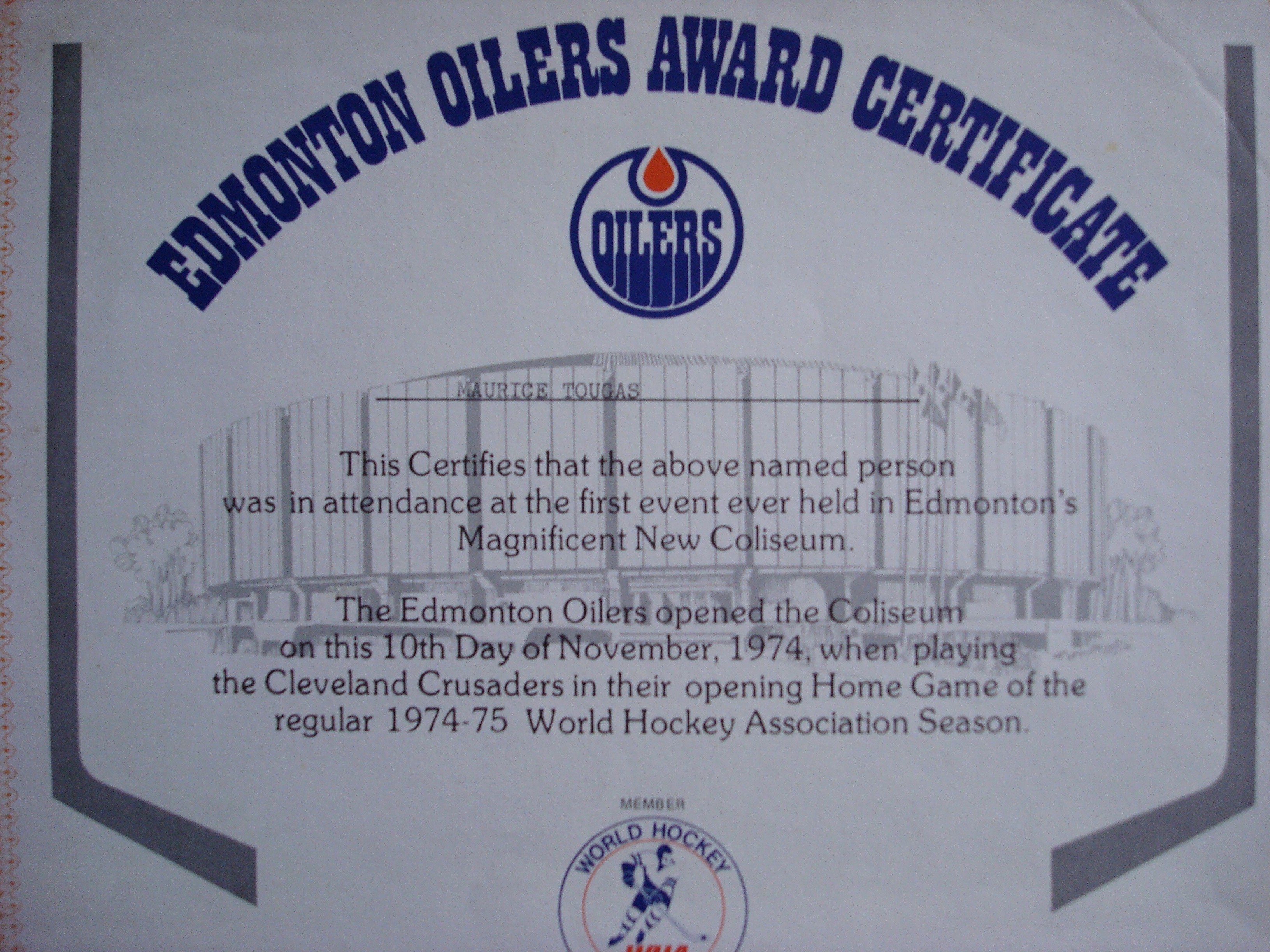 Player Of the Game Certificates New northlands Coliseum History – In This Corner