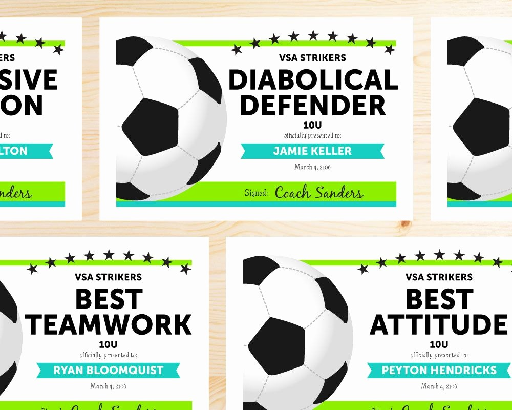 Player Of the Game Certificates New soccer Award Categories