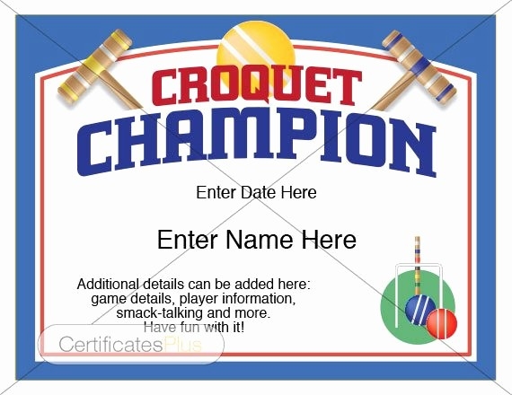 Player Of the Game Certificates Unique Croquet Certificate Croquet Champion Award Croquet Award