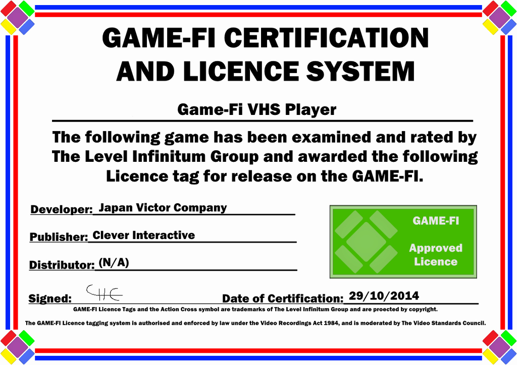 Player Of the Game Certificates Unique Vhs Player Game Fi Certificate by Levelinfinitum On Deviantart