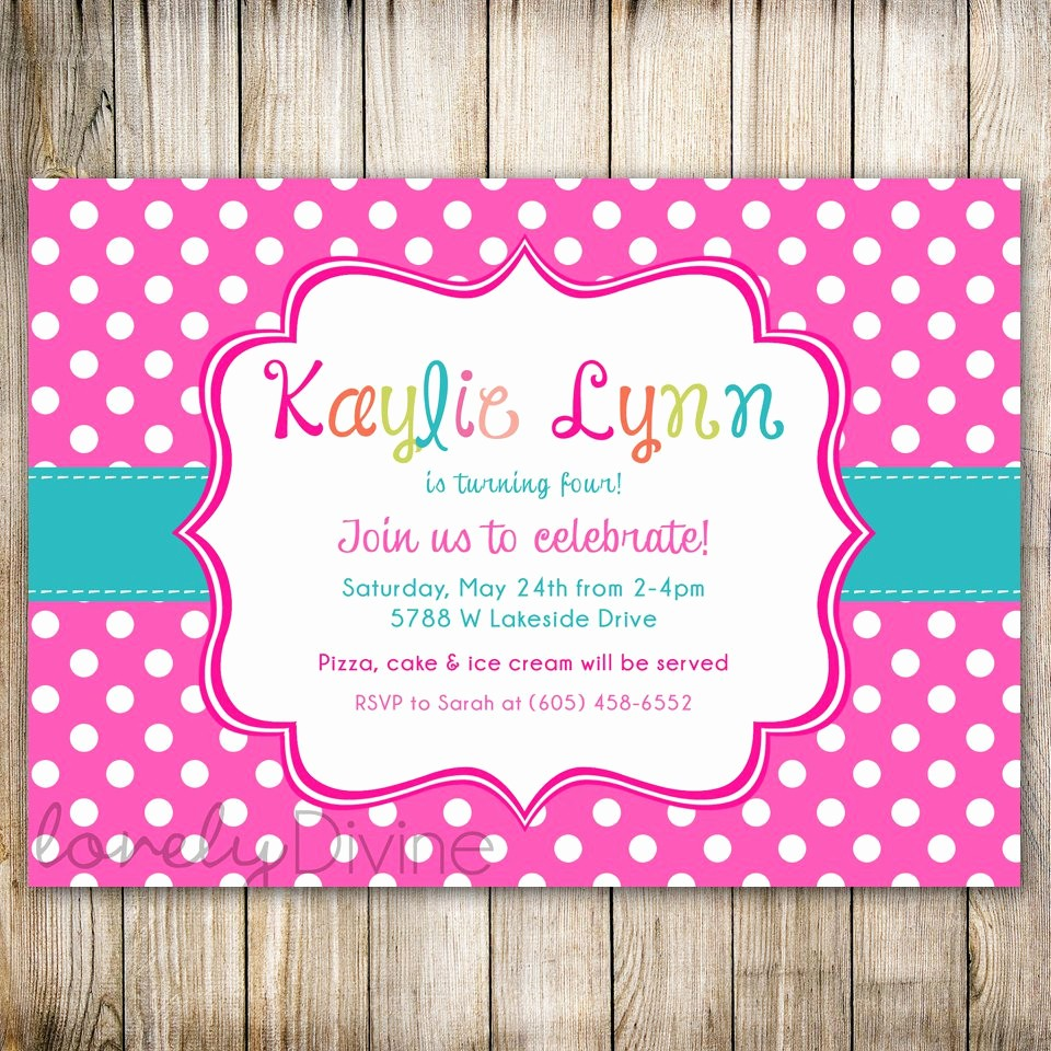 Polka Dot Template for Word Awesome 7th Birthday Invitation