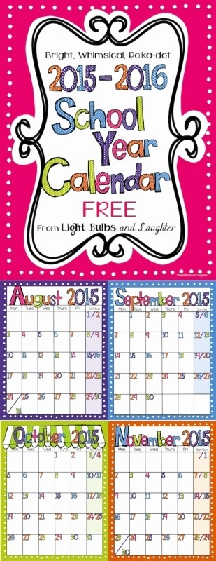 Polka Dot Template for Word Fresh Free Editable Calendar for Teachers Free Calendar Template