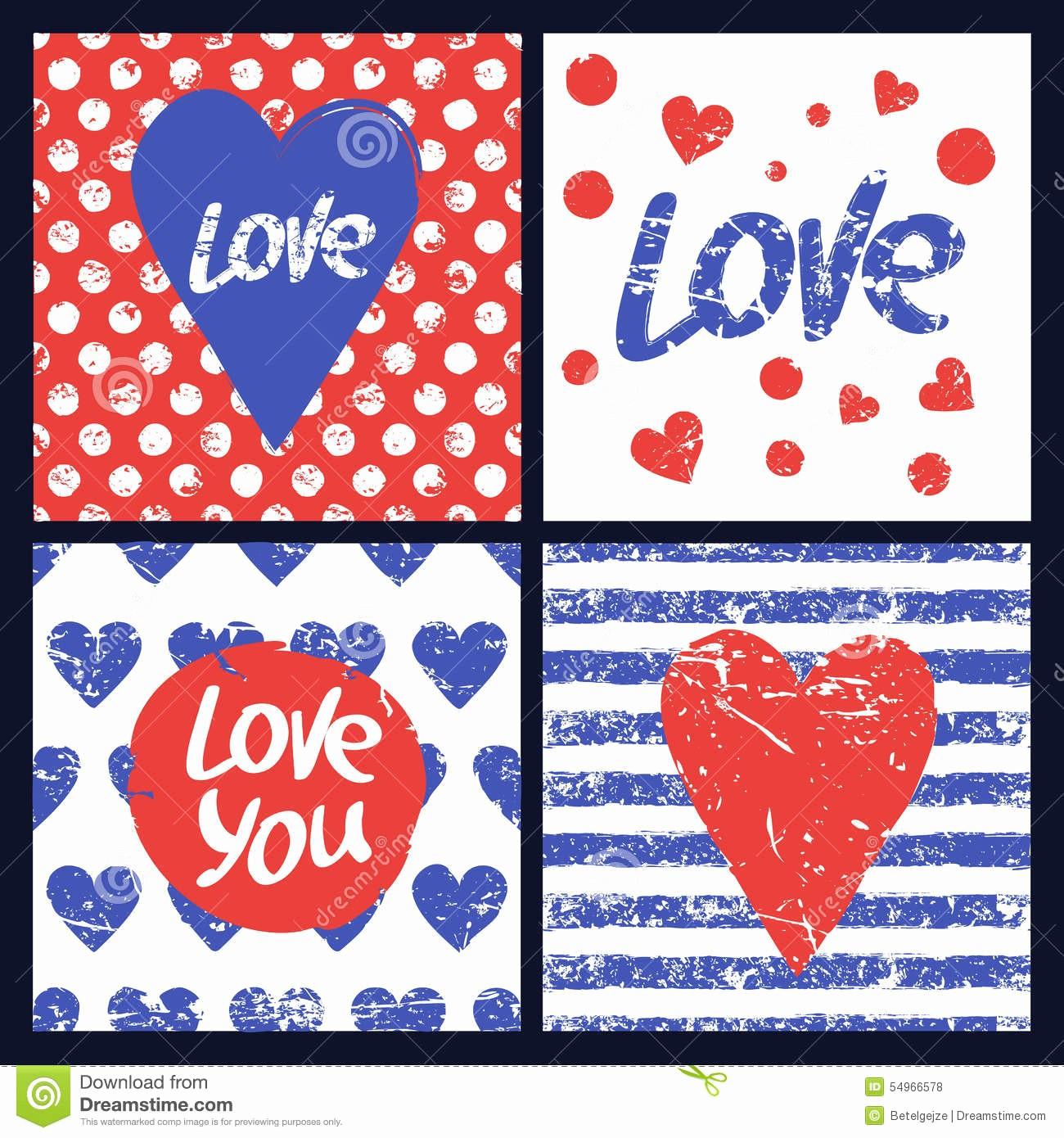 Polka Dot Template for Word Fresh Set Vector Card Template Heart Hand Drawn Word Love