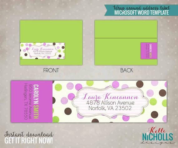 Polka Dot Template for Word Inspirational Purple & Green Polka Dot Wrap Around Return Address Label