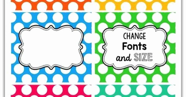 Polka Dot Template for Word Lovely Editable Polka Dot Labels Create Labels for Storage Bins