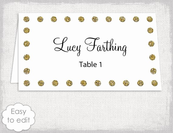 Polka Dot Template for Word Luxury Gold Wedding Place Card Template Polka Dot Border