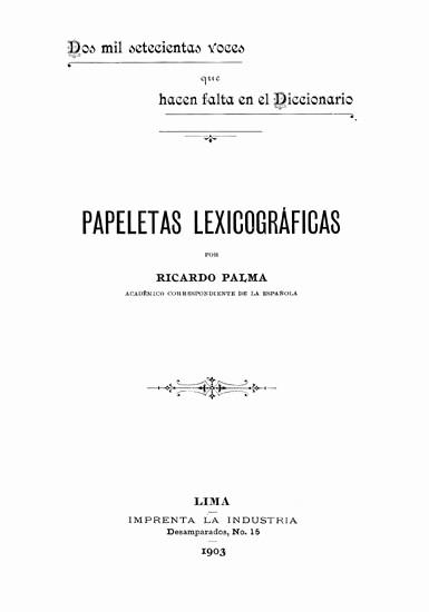 """Portada De Un Trabajo Escolar Beautiful Temas Lingüsticos Ricardo Palma Y Los """"barbarismos"""""""