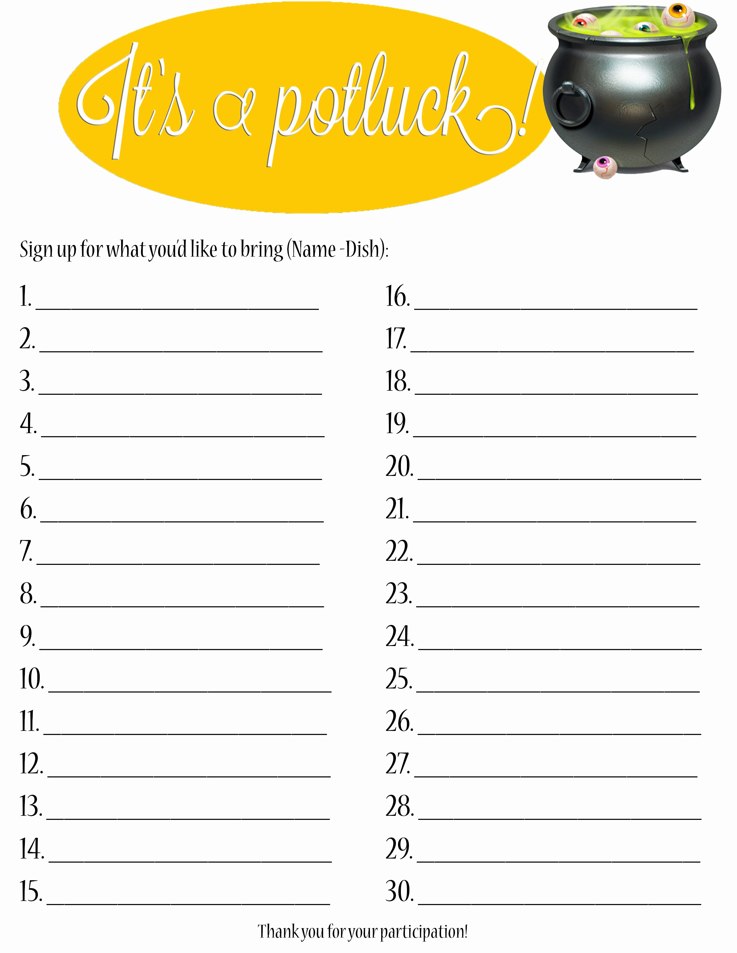 Potluck Invitation Template Free Printable Awesome Thanksgiving Printable Potluck Sign Up Sheets – Happy