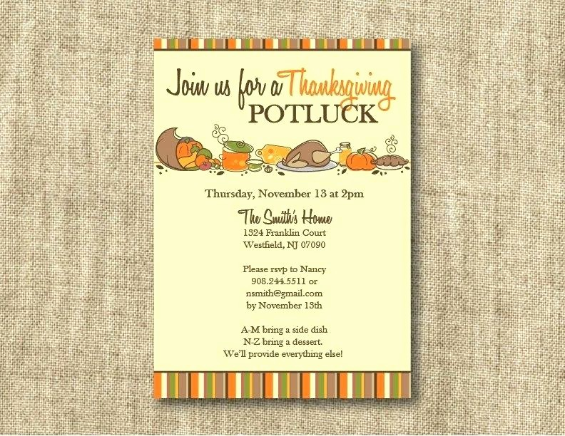 Potluck Invitation Template Free Printable Lovely Fall Turkey Dinner Harvest Thanksgiving Invitation Poster