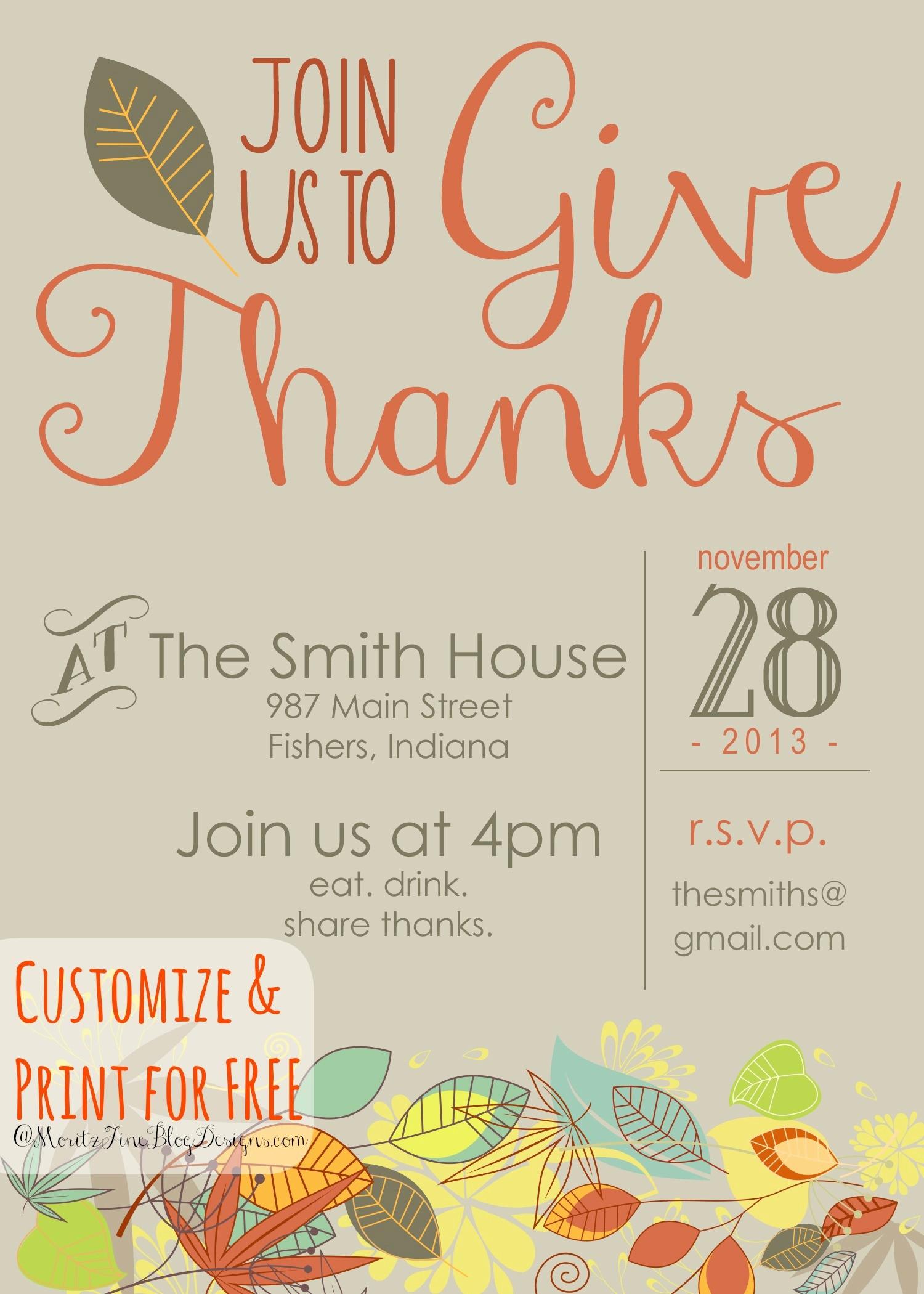 Potluck Invitation Template Free Printable Unique Free Thanksgiving Dinner Invitations Templates – Happy