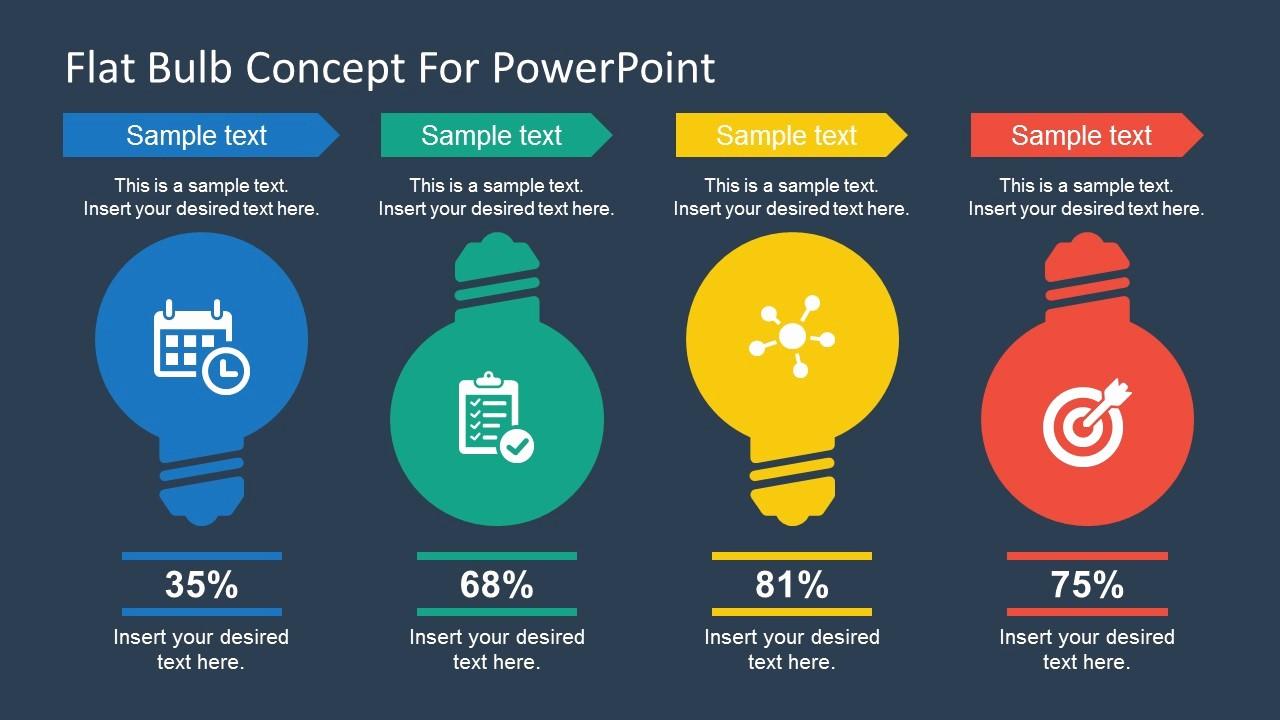 Powerpoint Presentation Design Free Download Elegant Free Flat Bulb Concept Slides