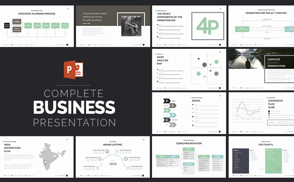 plete business presentation powerpoint template