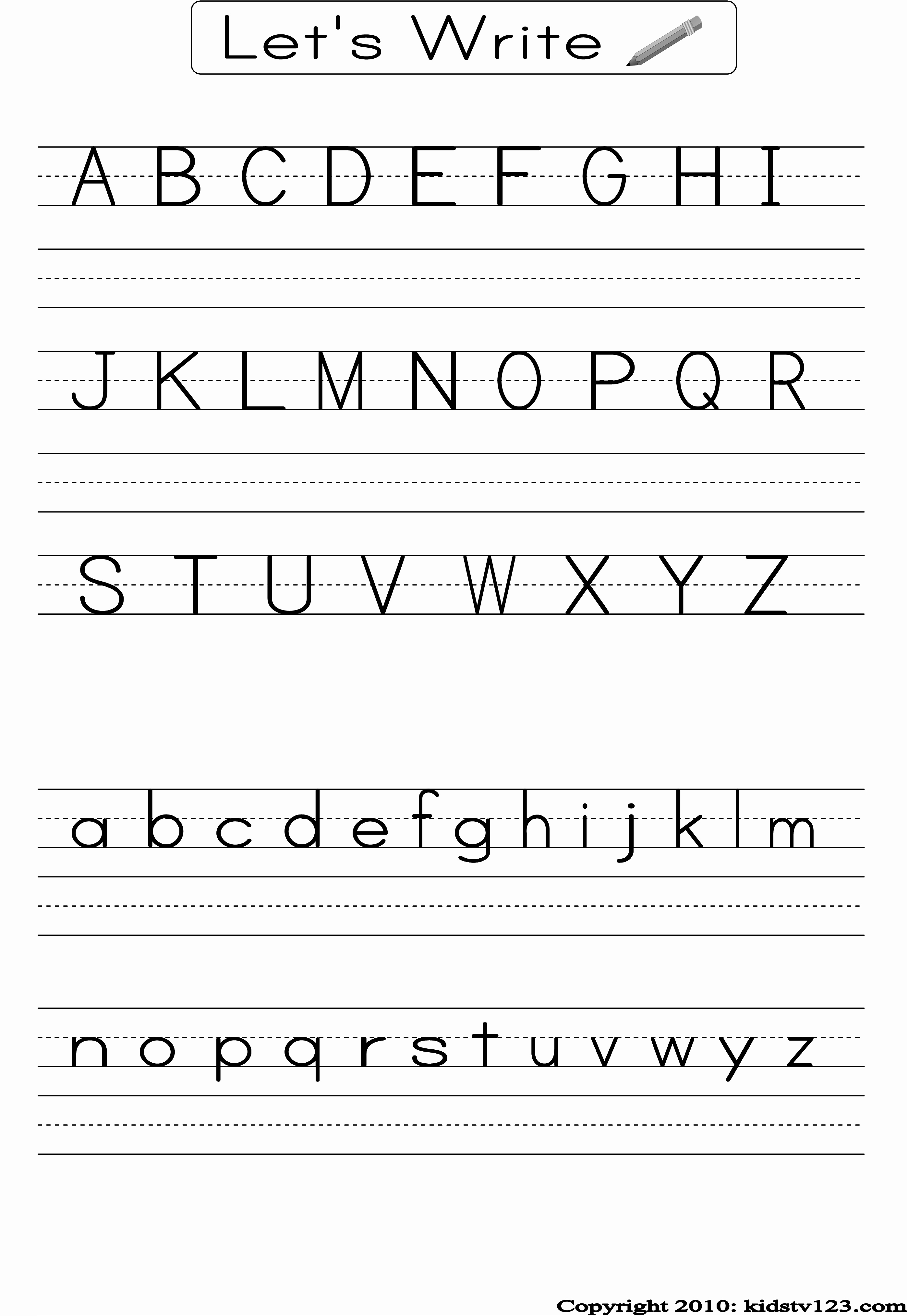 Practice Writing Paper for Kindergarten Awesome Free Printable Alphabet Worksheets Preschool Writing and