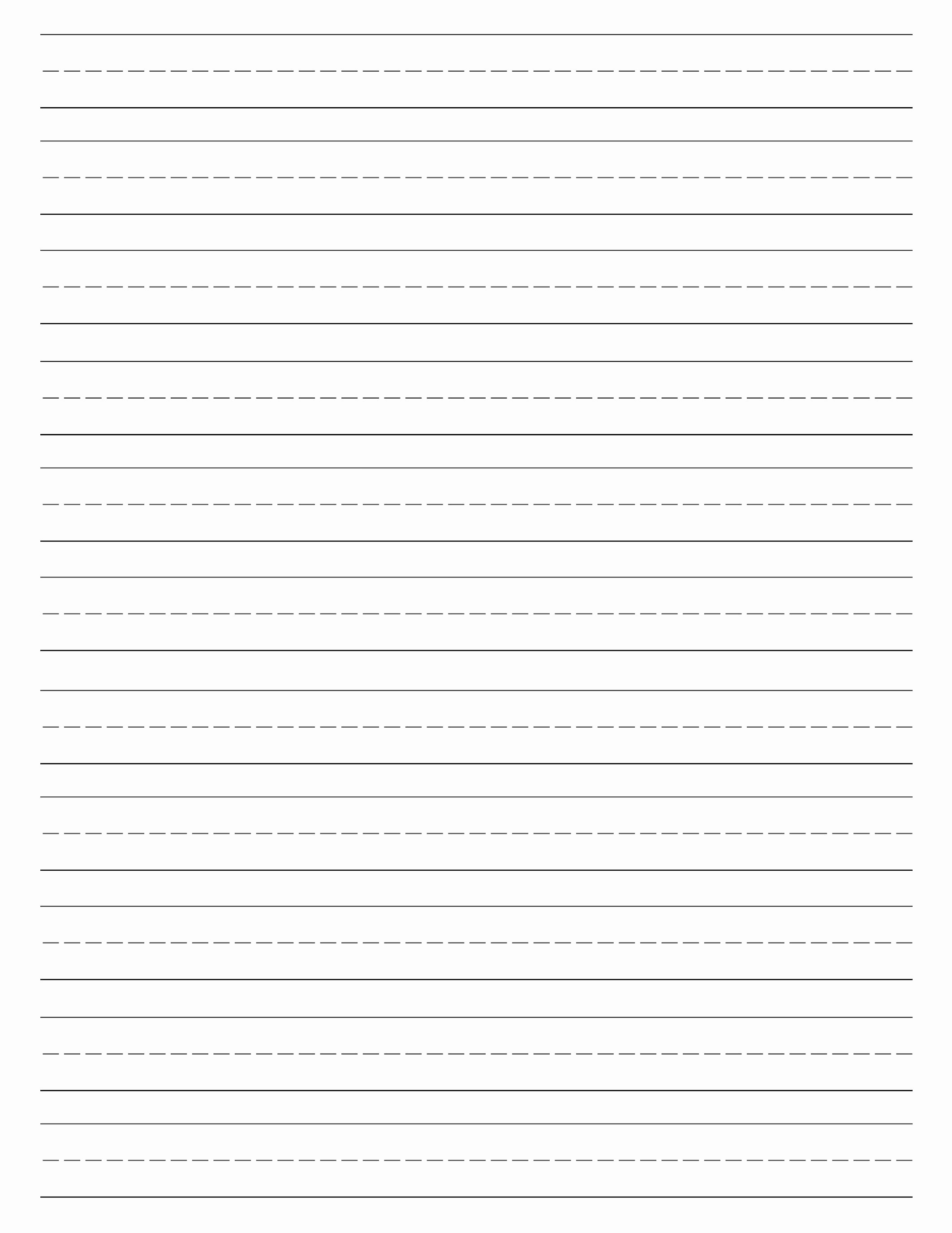 Practice Writing Paper for Kindergarten Elegant Free Printable Lined Paper Handwriting Paper Template