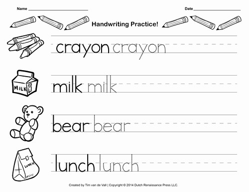 Practice Writing Paper for Kindergarten Fresh Free Handwriting Practice Paper for Kids