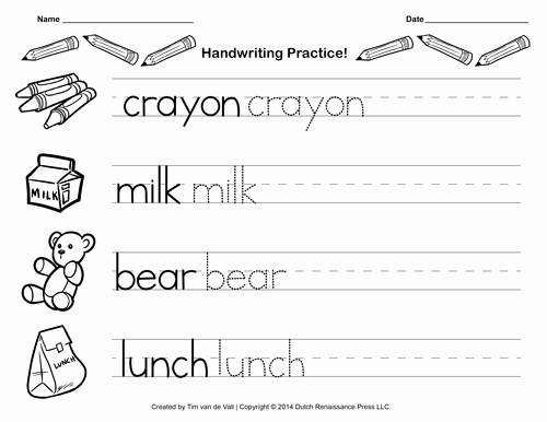 Practice Writing Paper for Kindergarten Fresh Free Handwriting Practice Paper for Kids