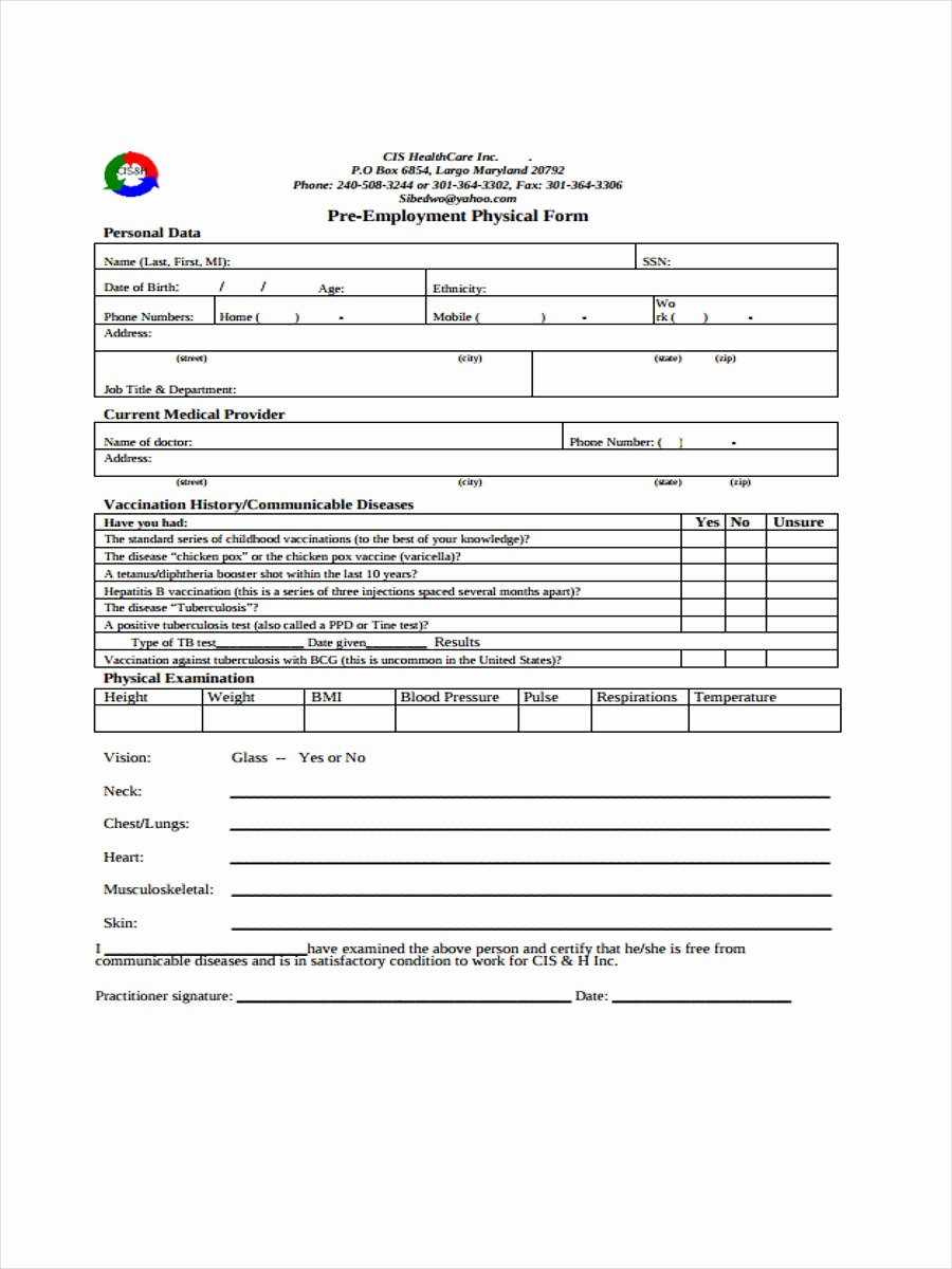 Pre Employment Physical form Template Beautiful Pre Employment Physical Exam form Bing Images