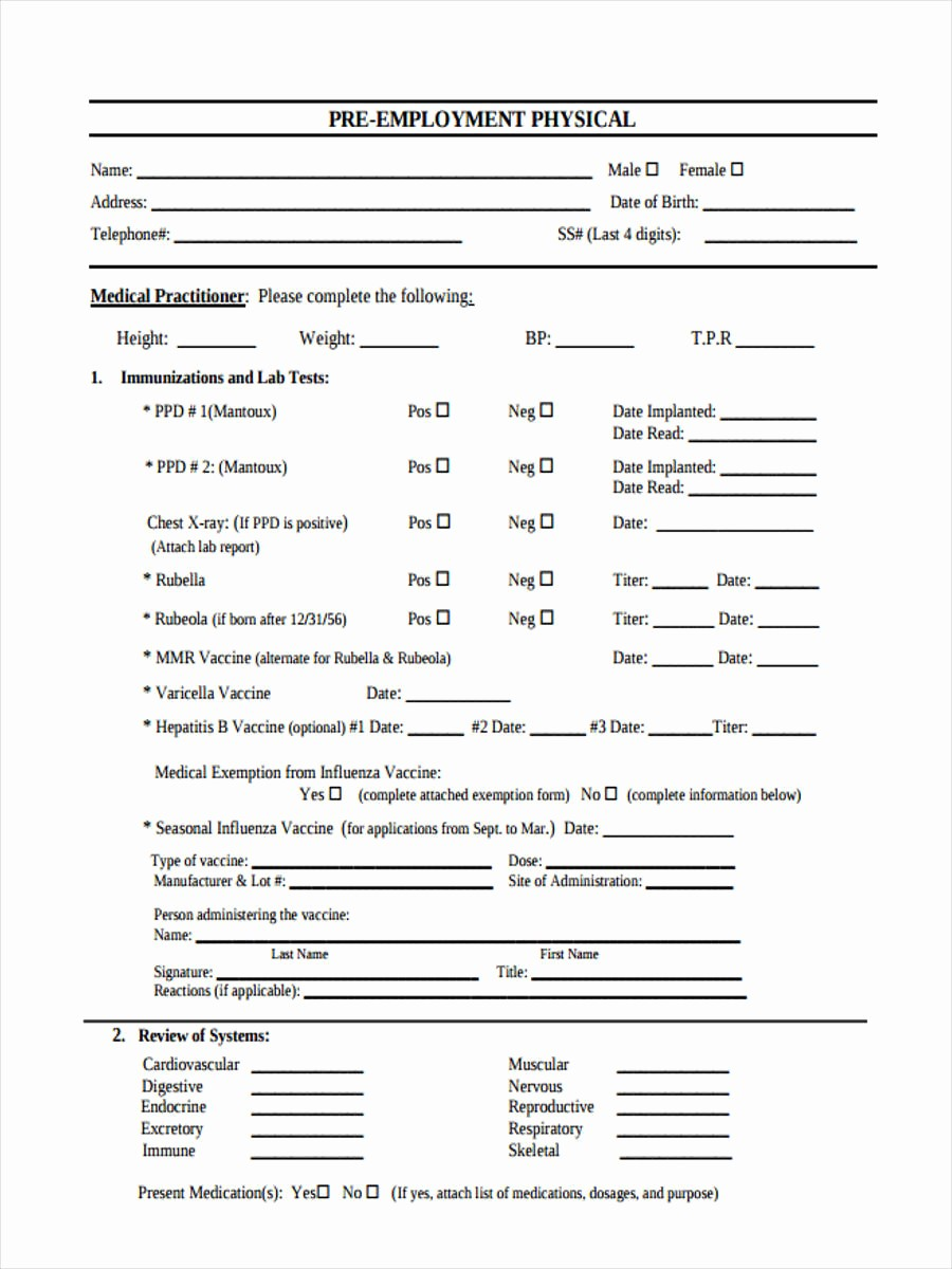 Pre Employment Physical form Template Best Of Pre Employment Physical Exam form Bing Images