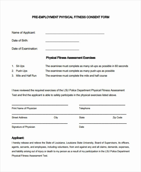 Pre Employment Physical form Template Fresh 7 Pre Employment Physical forms Free Sample Example