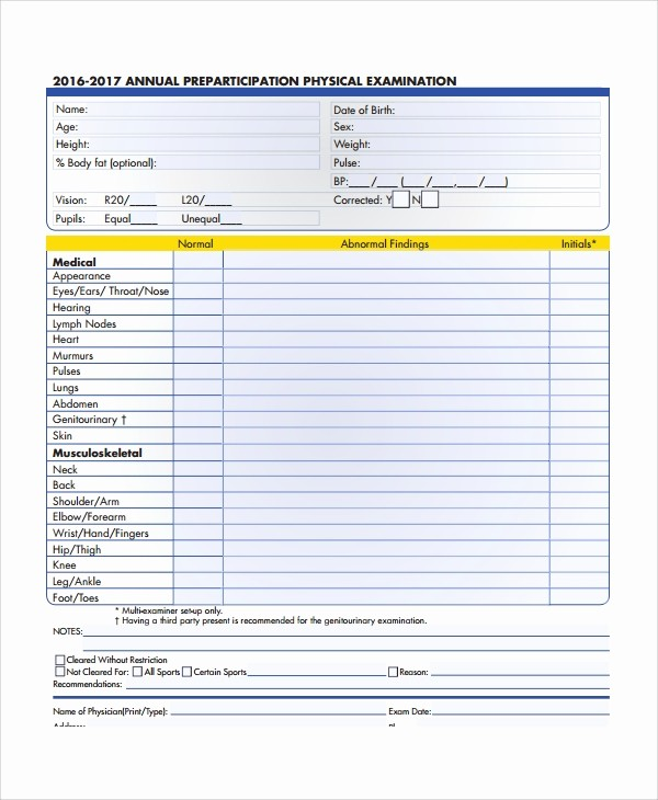 Pre Employment Physical form Template Lovely 9 Sample Physical Exam forms – Pdf