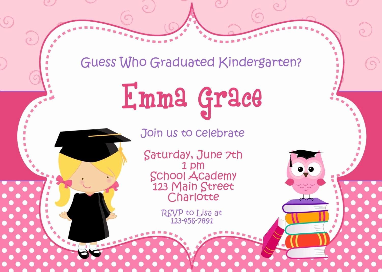 Pre K Graduation Invitations Templates Fresh Kindergarten Graduation Invitation Graduation Preschool