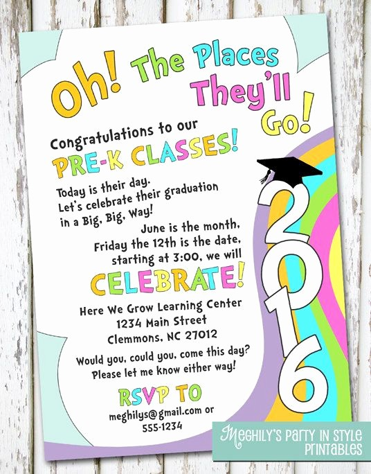 Pre K Graduation Invitations Templates Fresh Oh the Places You Ll Go Preschool Graduation by Meghilys
