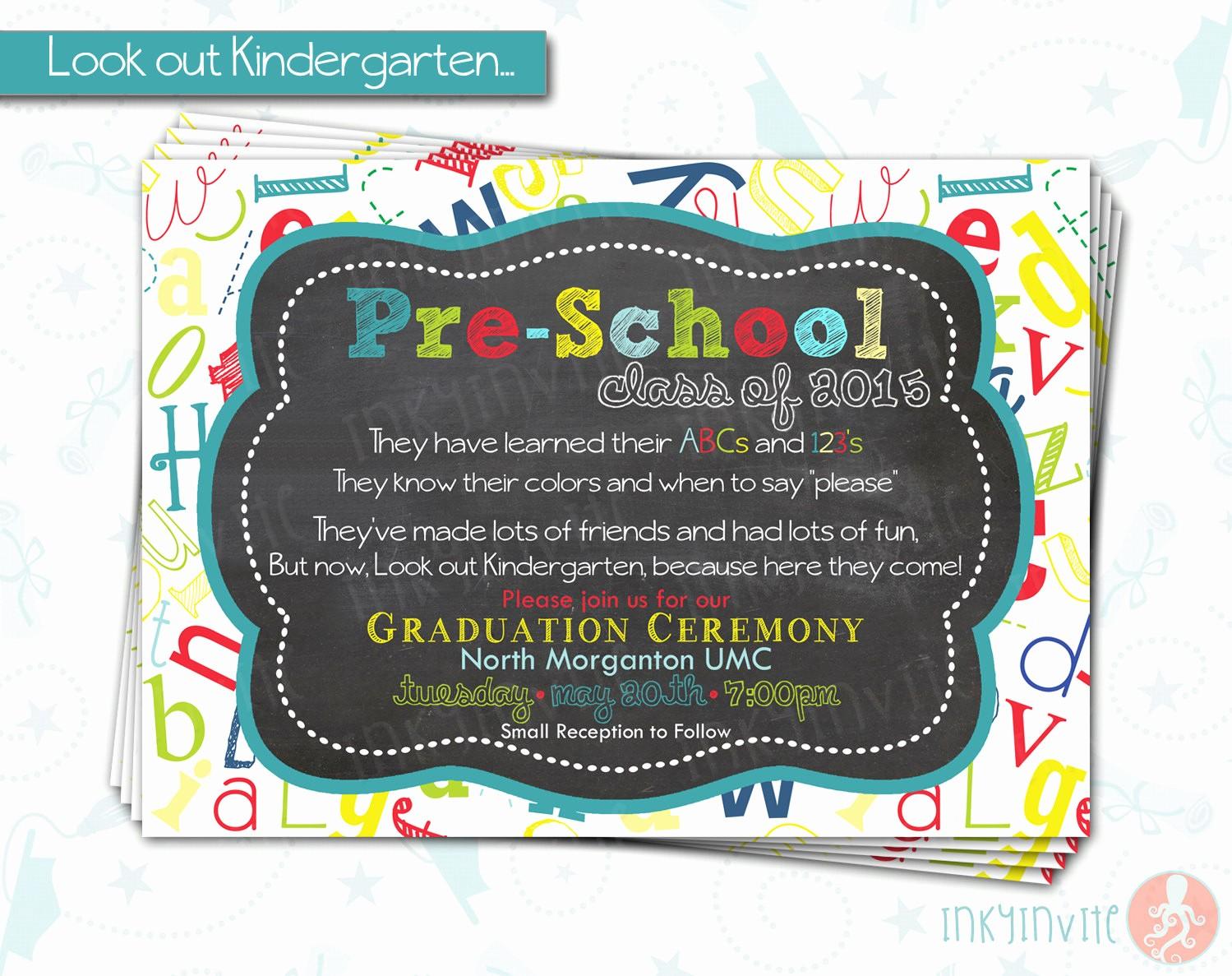 Pre K Graduation Invitations Templates Inspirational Pre School Graduation Invitation Pre K Class Graduation