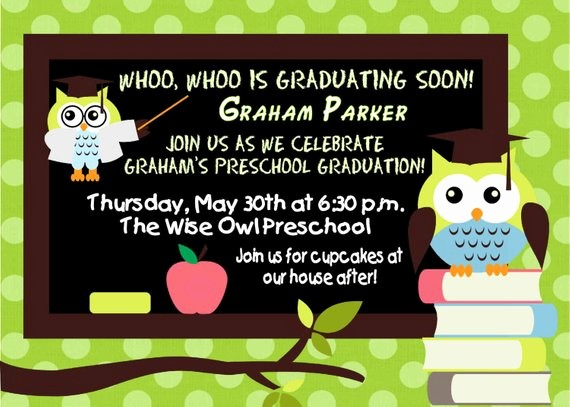 Pre K Graduation Invitations Templates Lovely Digital Preschool Kindergarten Wise Owl Graduation Invitation