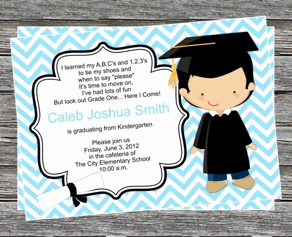 Pre K Graduation Invitations Templates Lovely Diy Boy Pre K or Kindergarten Graduation Invitation