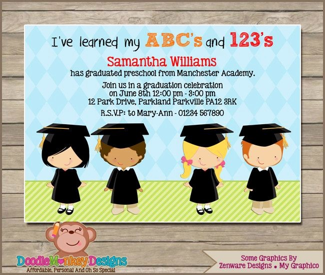Pre K Graduation Invitations Templates Luxury Preschool Graduation V1 Party Invitation Diy Printable