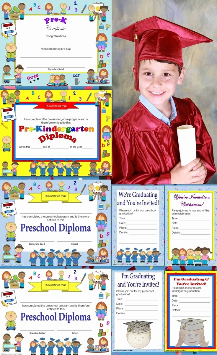 Pre K Graduation Invitations Templates New Preschool Diplomas Certificates Graduation Invitations