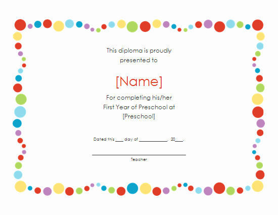 Preschool Diplomas Templates Printable Free Awesome 6 Best Of Free Printable Preschool Diplomas