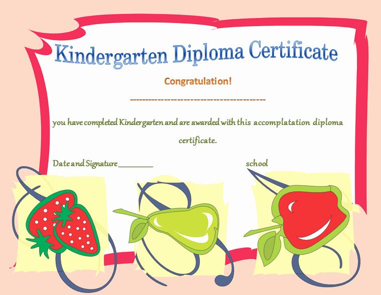 kindergarten diploma certificates