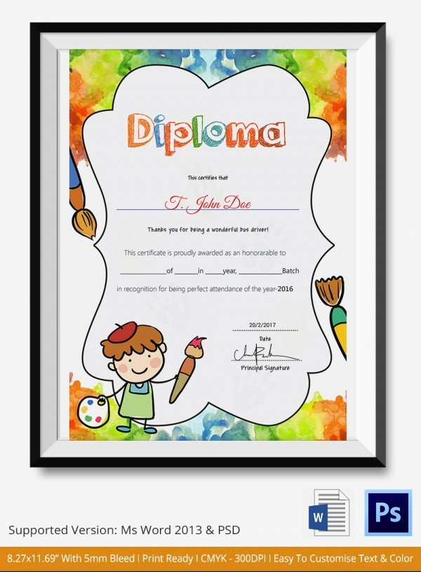 Preschool Diplomas Templates Printable Free Beautiful Preschool Certificate Template 18 Free Word Pdf Psd