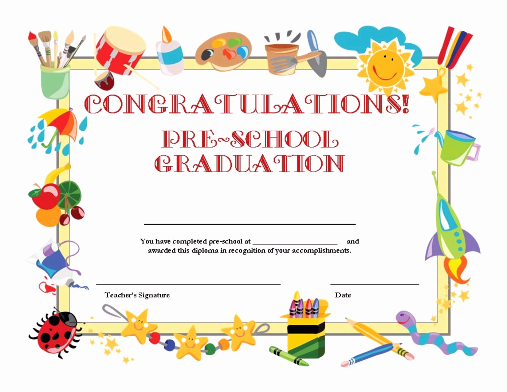 Preschool Diplomas Templates Printable Free Elegant Preschool Graduation Certificate Template Free