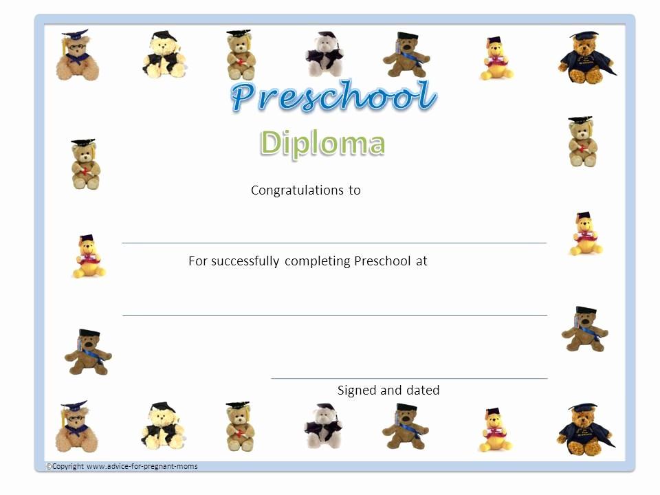 Preschool Diplomas Templates Printable Free Inspirational Preschool Diplomas