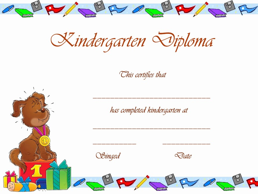 Preschool Diplomas Templates Printable Free Lovely 7 Best Of Printable Kindergarten Diploma Template