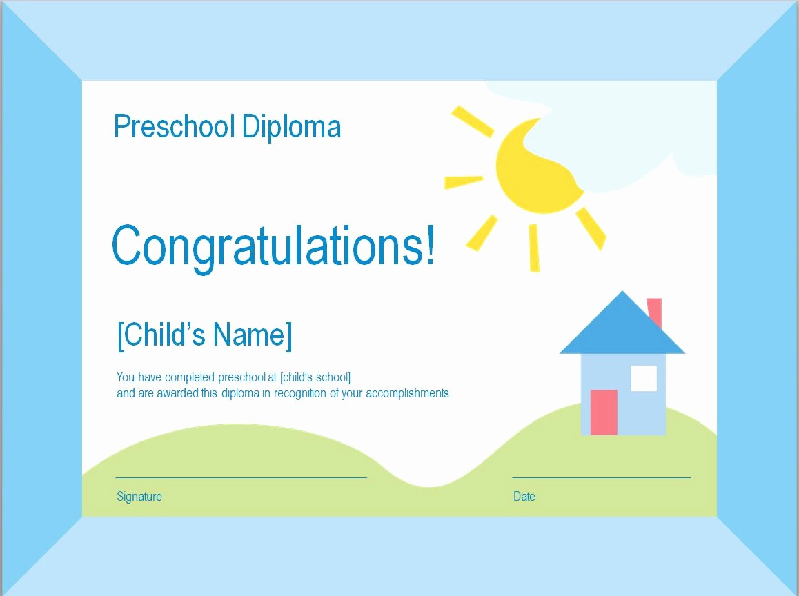Preschool Diplomas Templates Printable Free Lovely Preschool Diploma Template