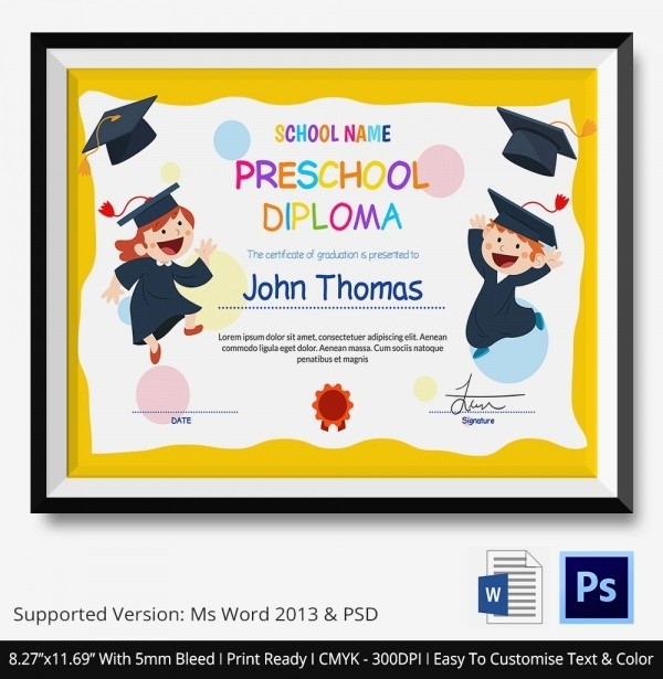 Preschool Diplomas Templates Printable Free Luxury 11 Graduation Certificate Templates Word Pdf Documents