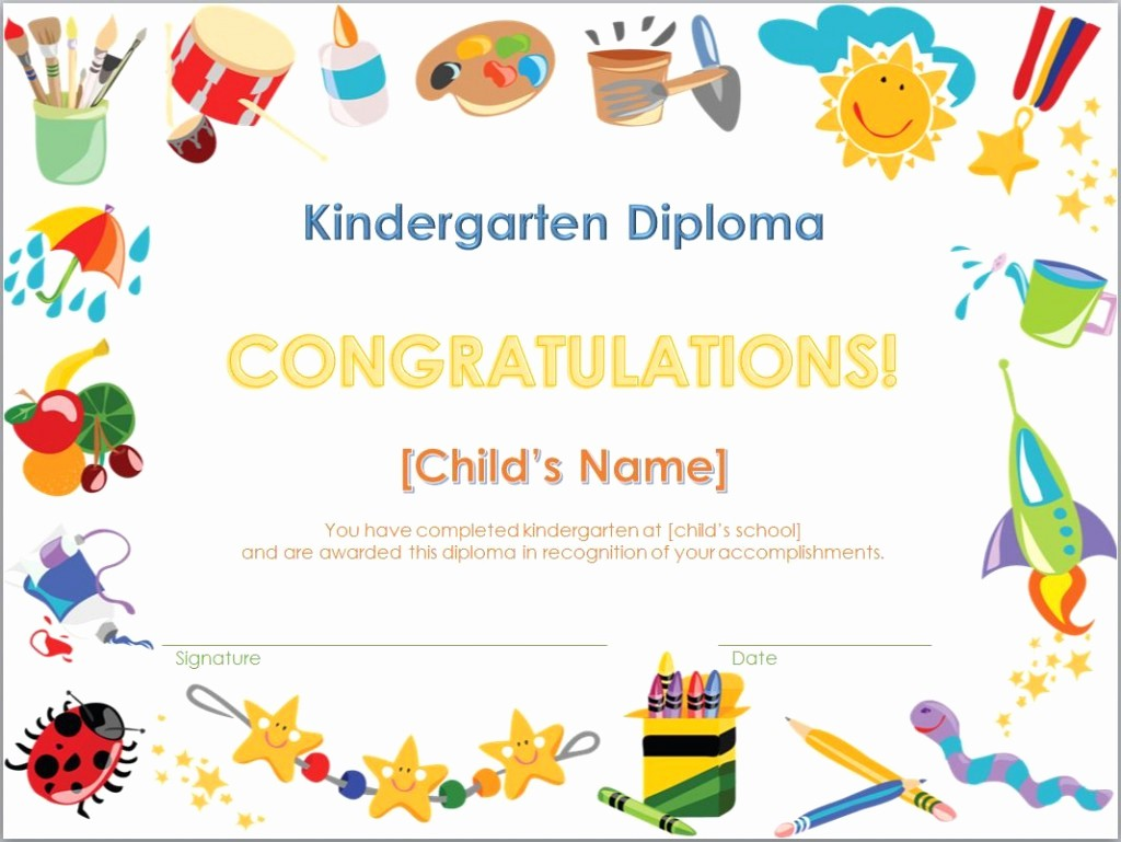 Preschool Diplomas Templates Printable Free Luxury Kindergarten Diploma Template