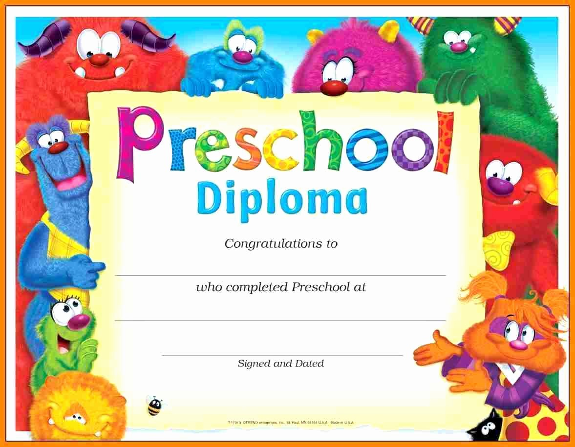 Preschool Diplomas Templates Printable Free Unique Template Preschool Certificate Template